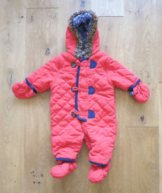 Red and Blue Mini Club Snowsuit 0-3 months, with detachable mitts and bootees