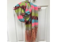 Brightly Coloured Striped Knitted Wooly Winter Scarf