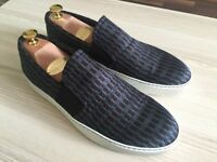 BNIB Luxurious Lanvin Navy Jaquard Slip On mens sneakers, silk, calfskin 43 / uk9, BNIB, rrp £310