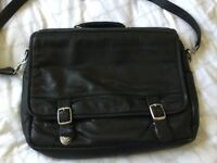 Real Leather Laptop/Messenger Bag. Black