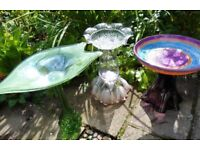 Hand made unique bird baths/bird feeders. Glass and ceramic for gardens, patios and courtyards