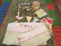 Owl design cot bedding and bumper with lightshade musical mobile and handmade bunting