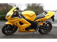 Unique 2005 Yellow Triumph Daytona 650 with 10 months MOT & many extras