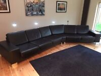 Designer BO CONCEPT Indivi black leather modern corner sofa suite £7500 new