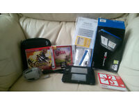 Nintendo 2DS (Black/Blue) boxed with several peripherals and 3 games.