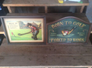Golf signs and old clubs