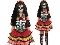 LADIES DAY OF THE DEAD FANCY DRESS OUTFIT SIZE 8/10 PARTY OR HEN DO