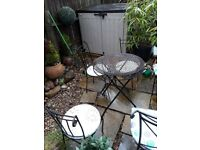 Shabby chic Garden table and 3 wrought iron chairs