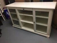 IKEA white cabinet with glass doors and drawer
