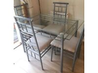 Glass Top Dining Table & 4 Chairs