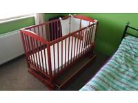 Baby cot bed ( cradle ) with mattress and drawer