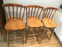 3 pine breakfast bar stools