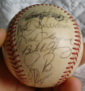Genuine game-signed baseball, Colorado Rockies, with display