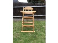 USED VERY GOOD CONDITION SAFETOTS FOLDING WOODEN HIGH CHAIR NATURAL WOOD (RRP £99.95)