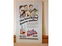 Newcastle Brown Ale vintage metal advertising poster - golfing.