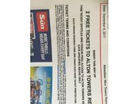 Alton Towers Sun Tickets x 4 for Saturday 09/09/17 only (Adult or Child)