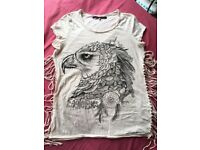 River Island women's fringe T shirt size 12