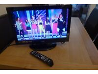 LOGIK 19 INCH WIDESCREEN FREEVIEW LCD TV WITH HDMI AND FULL REMOTE - GLOSS BLACK