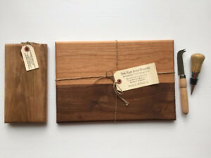 BRAND NEW handmade wood cutting boards and implements