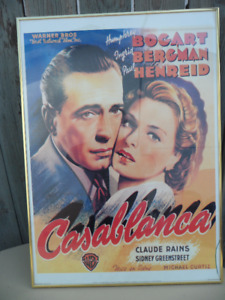 Large Casablanca Framed Poster $40 . Small chip in glass.
