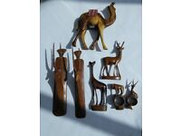 Wood carved animals various sizes