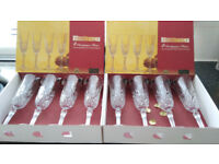lead crystal french champagne flutes ( 8 )