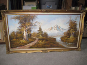 2 Large Oil Paintings in Ornate Gold Frames
