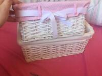 Wicker storage baskets x2