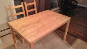 Ikea dinner table and two chairs
