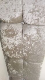 Double bed with crushed velvet headboard