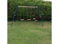 Childrens double swing and rocker swing