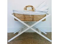 Moses Basket + Stand + Sheets + Extras (good condition)