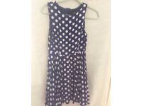 BLUE & WHITE SPOTTED DRESS