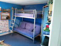 JAY-BE high sleeper bed with double futon sofa bed below.