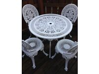 White Cast Aluminium Garden Table and Chairs