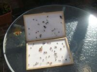LARGE WOOD BOX FULL OF ASSORTED FISHING FLIES