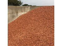 Red garden and driveway chips/gravel