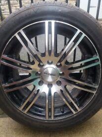 4 dezent 195x50x15 black and chrome alloys