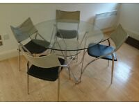 Round/Circular Glass Dining Table & 4 Chairs