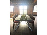 Unique Industrial Large Wooden Dining Table with Metal Legs. Offers considered.