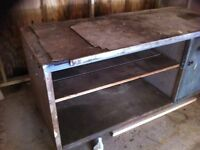 Workbench with storage cupboard and sperate metal storage rack, all metal