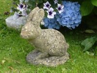 Vintage Cast Stone Sitting Rabbit Garden Ornament Statue 27cm Tall