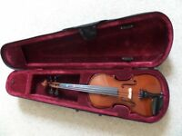 3/4 size violin with case,bow and headrest