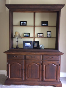 GORGEOUS Solid Wood Large Lighted Sturdy Buffet/Hutch/Display