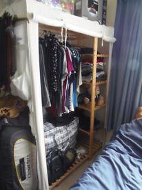 wood and fabric wardrobe in cream