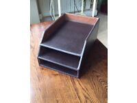 Brown Faux Leather In Tray Filing Tray