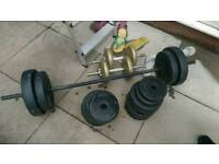 Weights and bars dumbells barbell 75kg