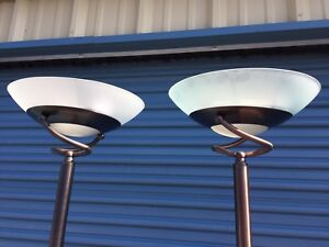 """PAIR Bronze Finish """"Touch"""" Torch Lamps"""