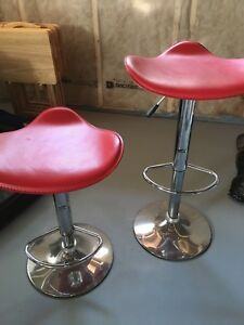 Red adjustable bar stools