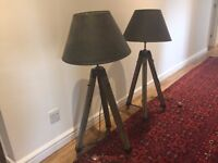 2 x Campaign Tripod Lamps with lamp shades